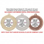 (51-100 Pieces) 50mm Metal Sports Medals with Generic or Custom Decal